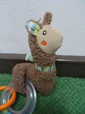 PUSBLU Babyrassel Lama Alpaka Braun Rassel Spielzeug Stofftier Anhänger