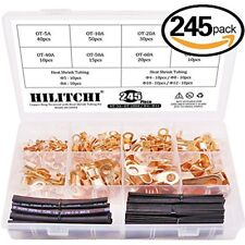 245-Pcs Open Barrel Wire Crimp Copper Ring Lugs Terminal Connector With 2:1 Heat