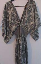 """Pure Silk Amour de Pin up """"Wild"""" silver paisley low cut short dress,  waist 28"""""""