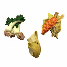 3x FRUIT VEGATABLE Scallions Corn Banana 3D MAGNET FRIDGE MEMO KITCHEN