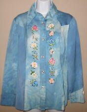 Vintage Huey Waltzer Mannequin Embroidered Embellished Blue Shirt Blouse 14