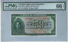 COLOMBIA NOTE BANCO DE LA REPUBLICA $50 ORO 1950-51  PICK# 393 c PMG GEM UNC 66