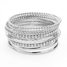 New Silver Hammered Twist Simulated Crystal Bangle Bracelet Set NWT #B1291
