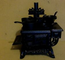 Vintage Miniature Cast Iron Stove, Toy, Advertising Sample w/Cookware. Queen.
