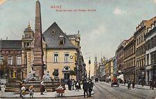 AK Mainz Neuer Brunnen mit Grosser Bleiche Strasse belebt Kinder Postkarte 1909
