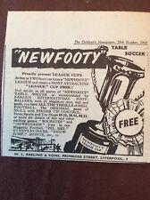 J1a Ephemera 1960 Advert New Footy Table Soccer League Cups