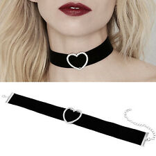 Women Velvet Gothic Shiny Love Heart  Chain Collar Choker Necklace Jewellery