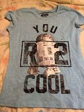 Star Wars Girls R2D2 You R 2 Cool t-shirt size L (14) - Light blue NWOT!!!