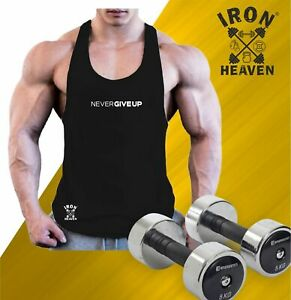 Never Give Up Vest Gym Clothing Bodybuilding Training Workout MMA Men Tank Top