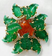 Vintage Schreiner Jade Green Art Glass Leaf Brooch Pendant