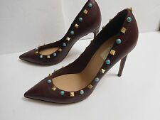 Women's  Valentino Rockstud Rolling Pointy Toe Burgundy Pumps Sz 39 1/2 / 9.5 US
