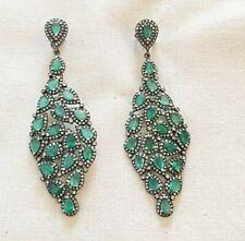 Gorgeous Fine Emerald & Diamond Oxidized Sterling Silver Earring