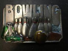 Vintage 1970s Bowling Pewter & Enamel Belt Buckle