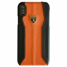 LAMBORGHINI HURACAN D1 Leather iPhone X Back Case Cover Orange
