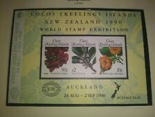 Cocos Is. Scott's #s 217. Souvenir Sheet of Three Flowers . sal's stamp store.