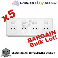 4 Gang GPO 5x Bulk Quad Power Point Outlet 3 Pin Socket Outlet with Switches