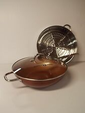 """Simply Ming 13"""" Jumbo Wok and Steamer Set in Vibrant Color-Copper Bronze-NEW"""
