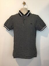 Fred Perry Mens Black White Check 100% Cotton Pique Short Sleeve Polo Shirt XS