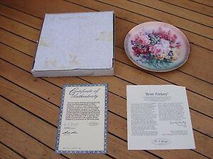 W J George  Shimmering Beauty Plate 6 Lena Liu Rose Fantasy 6th Boxed COA