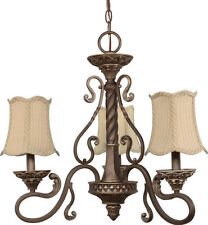 Gold Coast 3 Light Chandelier With Fabric Shades