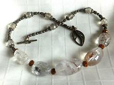 Beautiful natural clear quartz bead necklace earrings w/ Czech art crystal glass