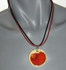 Bijoux de créateur pour femme COLLIER pendentif noir marron rouge & beige neuf