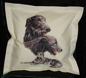 Hand Crafted Irish Wolfhounds dogs cushion cover