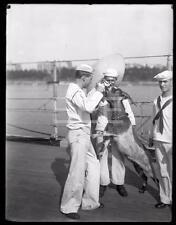 1921 US Navy Sailors Ship Nanny Goat 6.5x8.5 GLASS Old Photo Negative 269i
