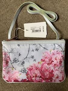NEW WITH TAGS TED BAKER GREY & PINK FLORAL XBODY NYLON BAG DOUBLE POUCH BELINAA