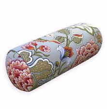 lf342g Greylish Blue Red Flower Cotton Canvas Bolster Cover Nect Roll Yoga Case