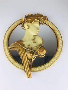 Vintage Gold Cream Romantic Lady Cameo Design Wall Mirror