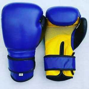 Boxing Gloves Training gloves MMA high quality 16oz gloves Blue and yellow color