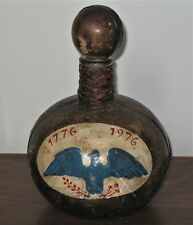 Vintage Glass & Leather Decanter Bicentennial 1776-1976 Hand Painted w/ Eagle