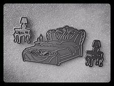 Bed & cassetti laterali taglio in metallo morire, Stencil, artigianato, card making, prenotazione di rottami