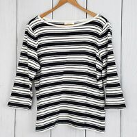 TALBOTS sz Lg Black White Striped Boatneck 3/4 Sleeve Blouse Shirt Top Nautical