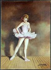 """Ancien Tableau """"Ballerine"""" Peinture Huile Antique Oil Painting"""