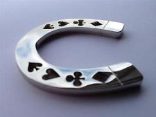 Silver Horseshoe Lucky Suited Heavy Poker Card Guard Hand Protector NEW