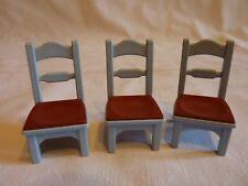 PLAYMOBIL accessoires maison cuisine vintage ville mobilier lot 3 chaises