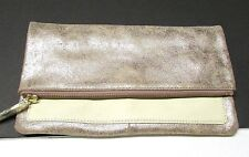 NWOT GAP Leather Foldover Pouch Clutch Purse in Metallic Rose Gold