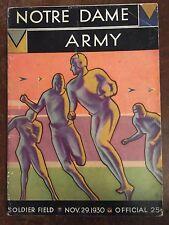 1930 Notre Dame vs Army Football Program/KNUTE ROCKNE'S FINAL YEAR/FRANK LEAHY !