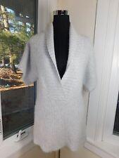 Barneys New York Silk Rabbit Angora Fuzzy Fluffy Gray Long Tunic Sweater Medium