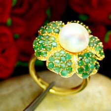 NATURAL 10 mm. ROUND WHITE PEARL & GREEN EMERALD RING 925 SILVER SZ 6.5