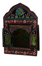 Arabesque Wall Mirror w/Doors Moroccan Hand Painted Handmade Home Decor Black
