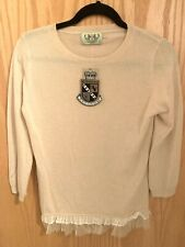 NEW Juicy Couture CASHMERE SILK Lace Oatmeal Beige Pull Over SWEATER Large $260