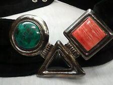 Pretty vintage Modernist Sterling 925 coral onyx buckle black  suede belt