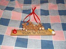 "Cute Christmas Ornament Teachers are Special Ruler Bears Pencil Apple 6"" Long"