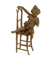 CHILD WITH CAT ON CHAIR SOLID GENUINE HOTCAST BRONZE FIGURE SEE MY OTHER ITEMS