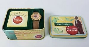 Coca-Cola Brand Watch In Collector Tin - Time for Coke Water Resistant 100ft