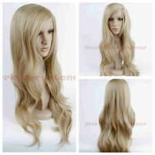 Women's Blonde Wig Long Wig Wavy Synthetic Heat Resistant Hair Wig Cosplay+Cap