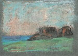 COASTLINE IMPRESSIONIST Pastel Drawing MARCUS ADAMS c1950